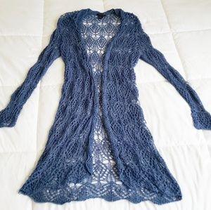 Forever 21 Crocheted Net Long Line Swim Cover Up